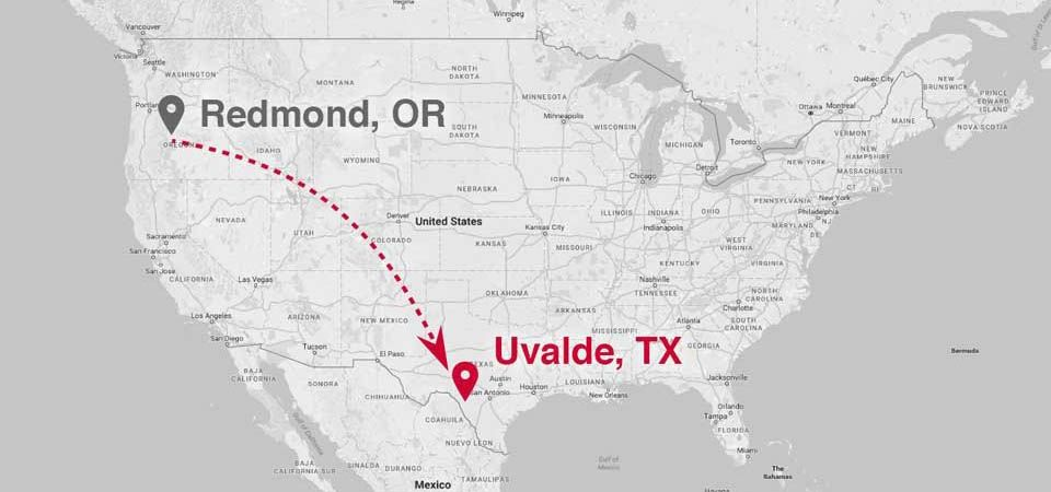 US map with Redmond to Uvalde route