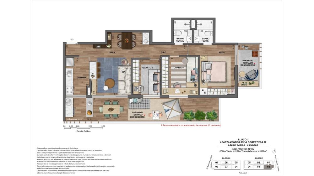 Apartamento 3 quartos 302 à cobertura 02