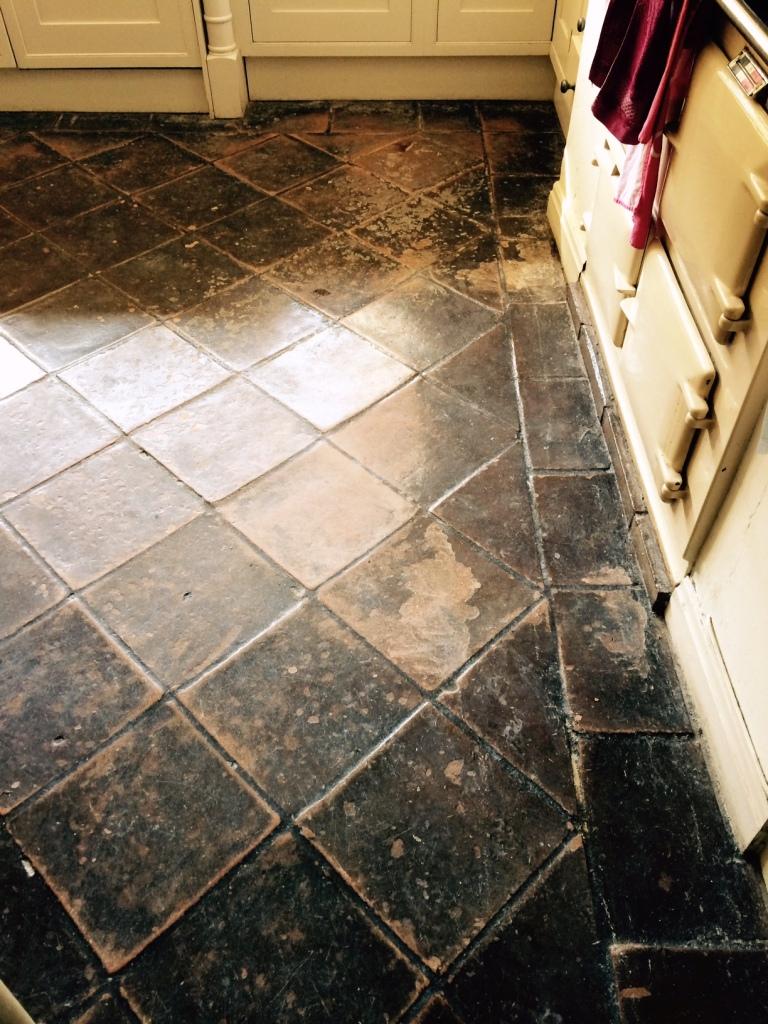 terracotta hallway tiles restored in