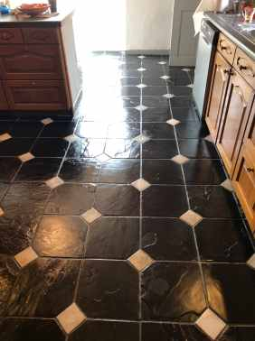 Bolivian Black Slate with White Ceramic Tozzettos After Cleaning Blackpool