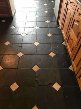 Bolivian Black Slate with White Ceramic Tozzettos Before Cleaning Blackpool