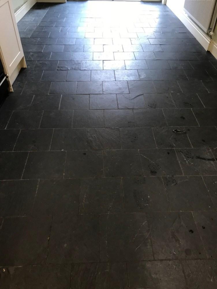Black Slate Floor Before Renovation Lancaster