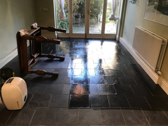 Black Slate Floor During Renovation Lancaster