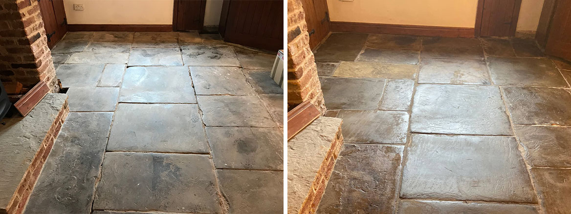 Flagstone Floor Before and After Restoration in Whalley