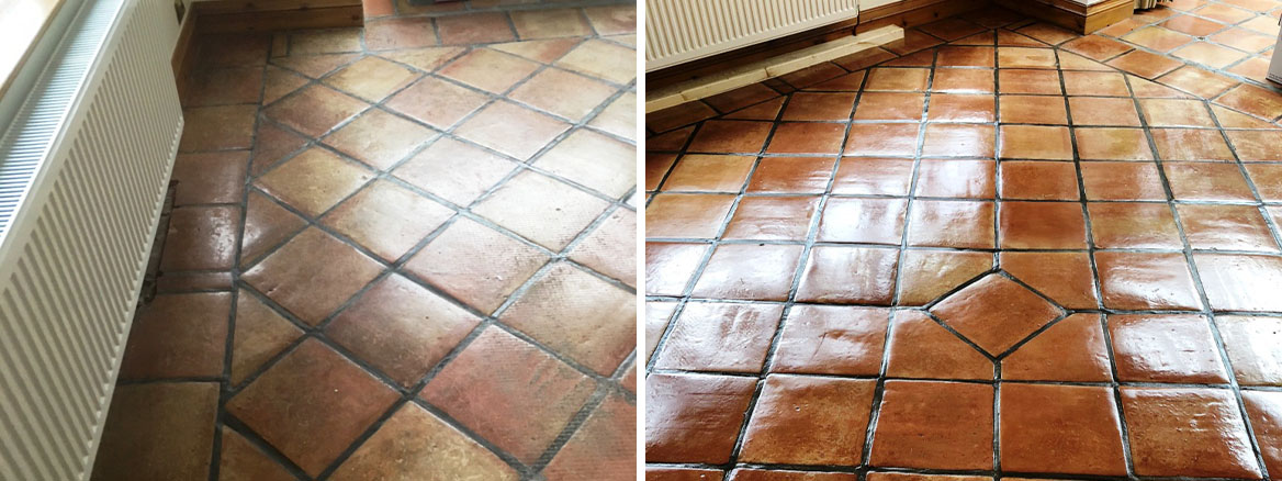 Mexican Terracotta Before and After Cleaning Sealing Elswick