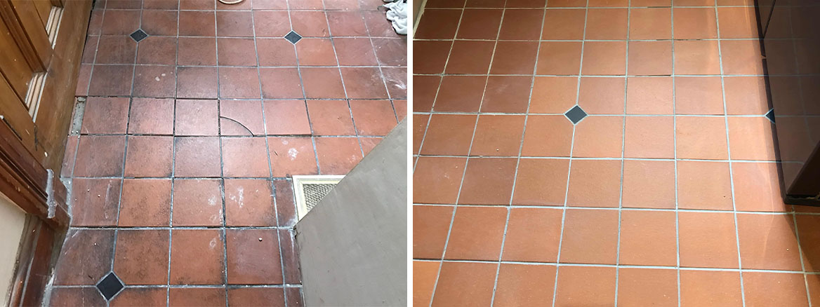 Quarry Tiled Floor Lancaster Before and After Repair