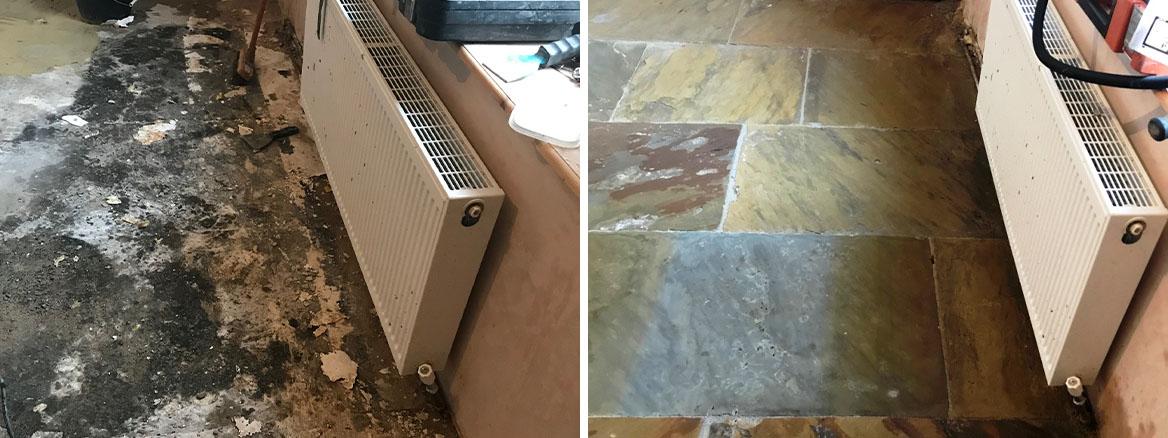 Bitumen Covered Flagstone Floor Restored in Morecambe