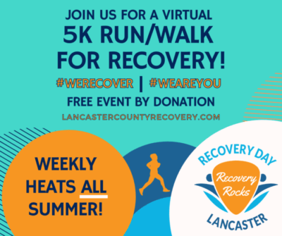 Brightly colored ad for 5K Run/Walk for Recovery