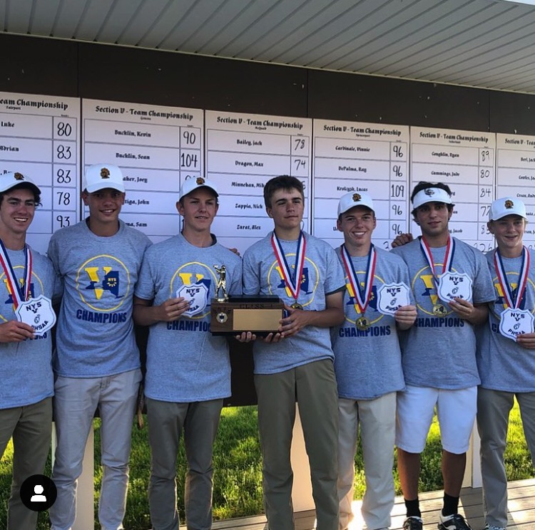 The+McQuaid+Golfing+Knights+hold+the+Section+V+brick+after+winning+sectionals+last+season+at+Wildwood+Country+Club.