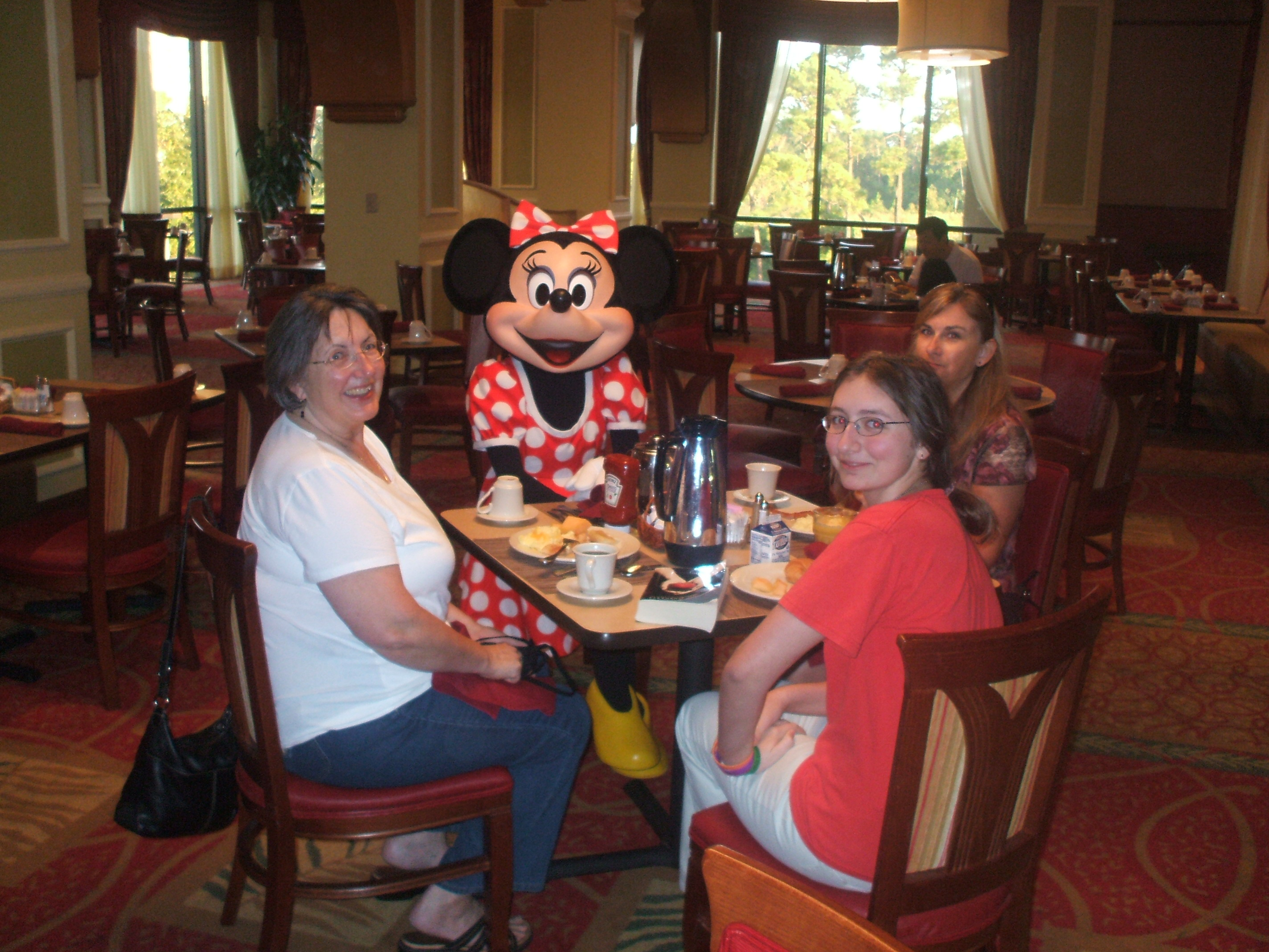 Minnie joins Mrs. LanceAround, # 1 Daughter and Office Manager Anne for breakfast
