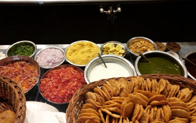The chaat ingredients spread