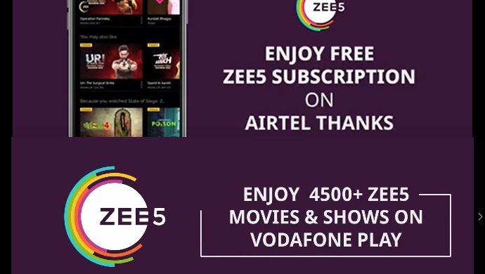 steps to download & get ZEE5 subscription for free from My Airtel App & Vodafone Play