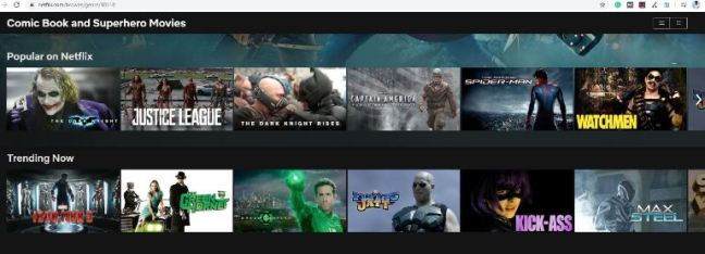 Netflix Categories from the letter C