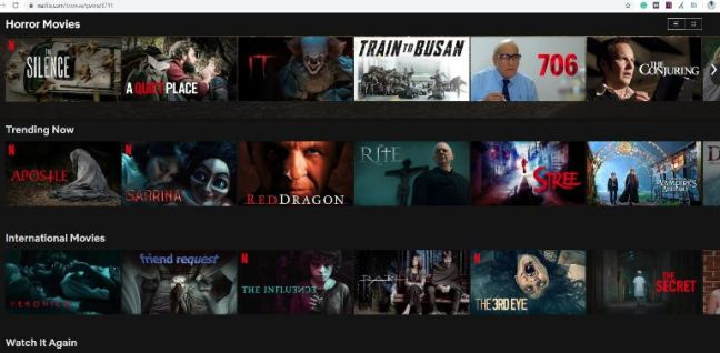 Netflix Categories from the letter H