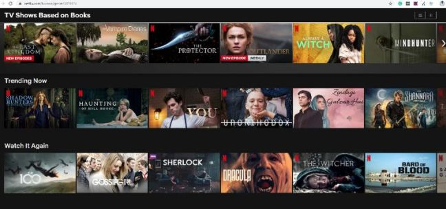 Netflix Categories from the letter T