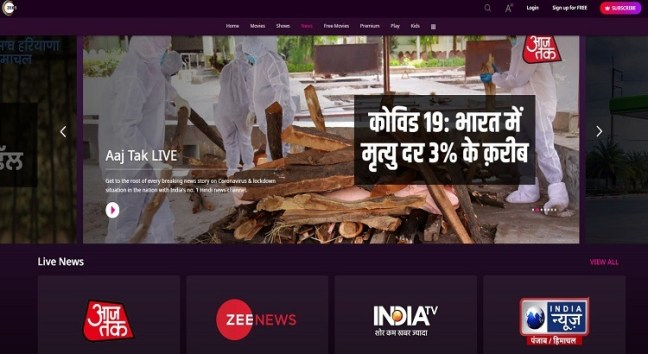 Zee News channel live in Hindi and English