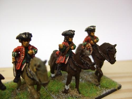 Dragoon command 1officer 1 standard bearer 1 musician + horses