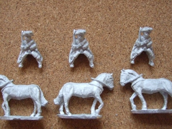 Mounted troopers 3 men + 3 Horses