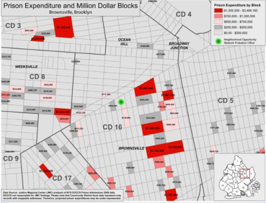 million dollar blocks incarceration expenditure brooklyn new york neighborhoods