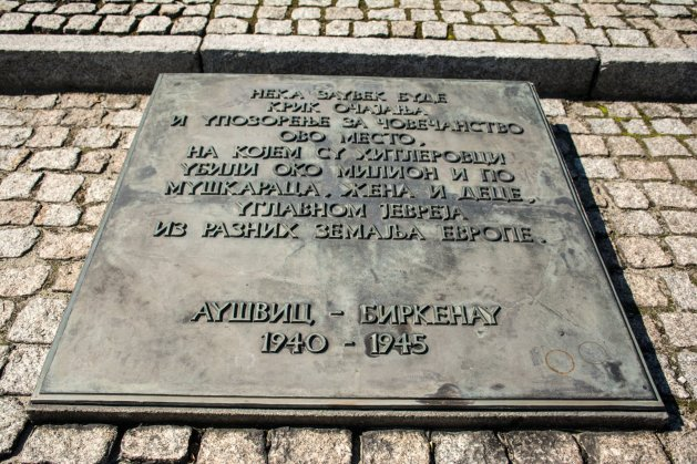 Auschwitz tombstone written in Cyrillic.