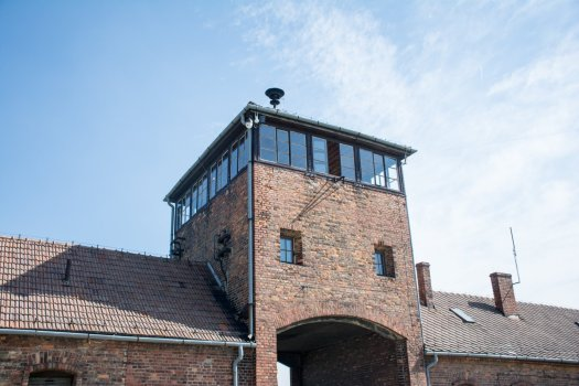 Auschwitz entrance building.