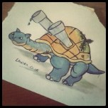 A cheat of the first instagram photo I took, an alternative Blastoise for our Pizza delivery guy.