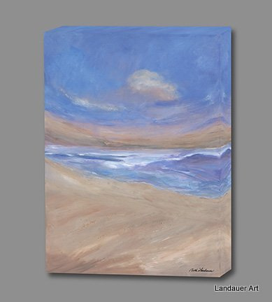 Beachscape and bird Giclee Gallery Wrapped canvas 389x432