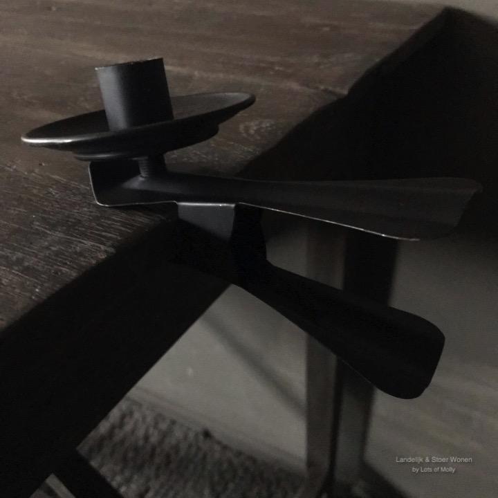 Klem kandelaar zwart metaal
