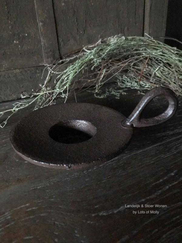 Waxine kandelaar plat bruin met oor