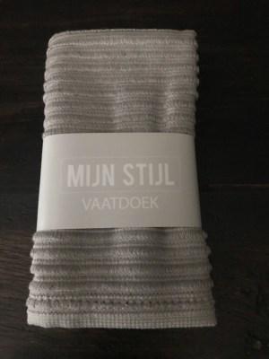 Vaatdoek licht grijs met banderol