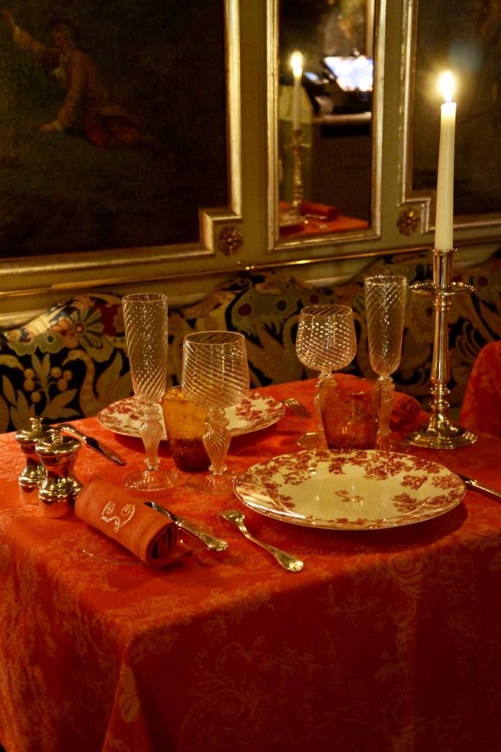 Beautiful table settings at Lapérouse Restaurant in Paris following the 2019 renovations