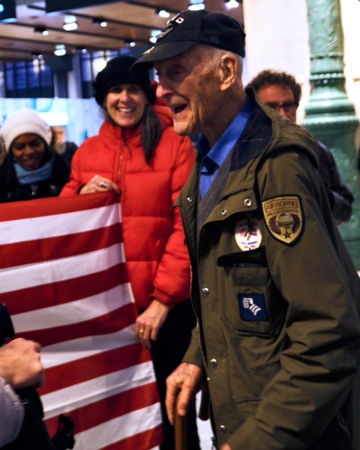 WWII Veteran Dr. Stephen Weiss arriving at Paris' Gare du Nord
