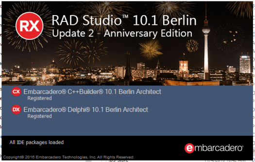 Delphi 10.1 Berlin - Update 2 - Aniversary Edition
