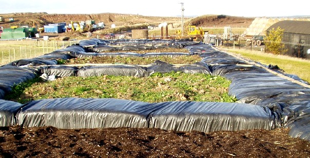 An experimental Soil Bed Biofilter Cell for landfill gas bio-oxidation, at Betton Abbotts Landfill (Courtesy: SITA Waste Management).