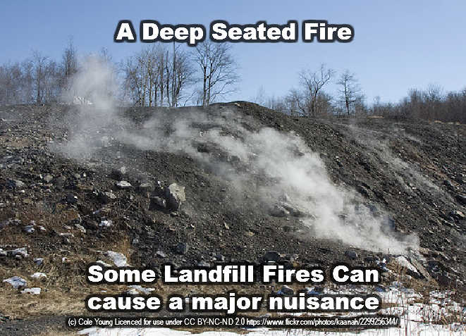 Image shows a landfill fire deep seated anthracite based.