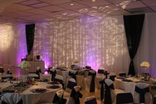 Decorative Pattern GOBO on White Draping with Purple Up Lights