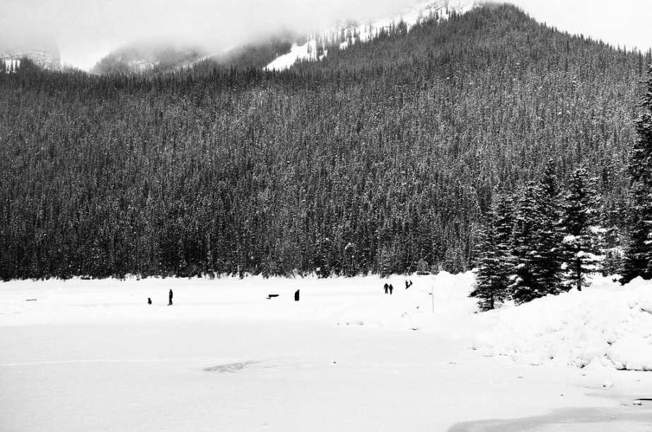Hockey on Snowy Lake Louise, Alberta Canada