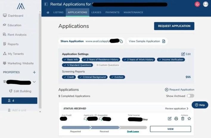 avail landlord software dashboard screenshot