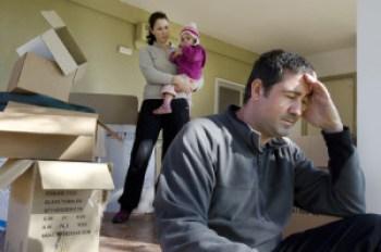 Worried man facing eviction