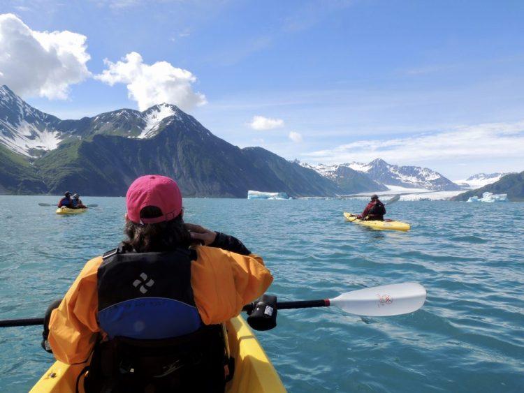 Cheryl takes a break to admire the view toward Bear Glacier.