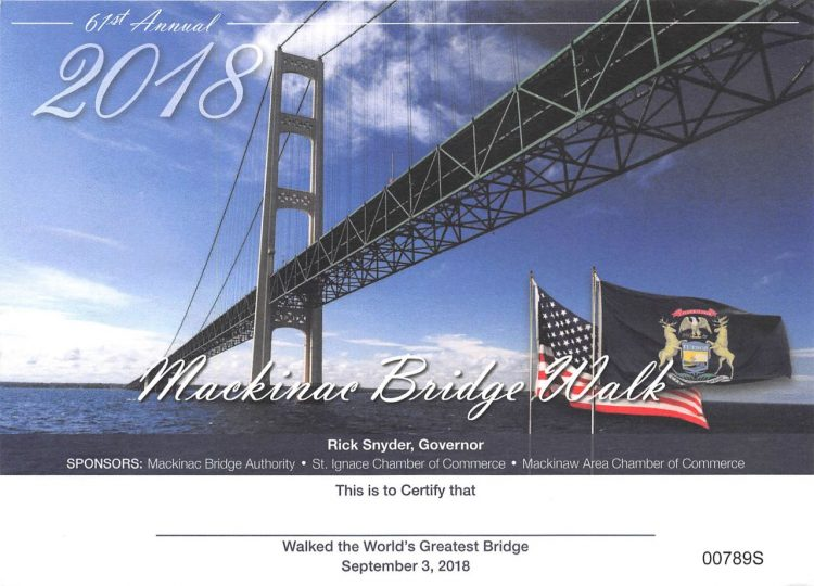 Bridge Walk Certificate
