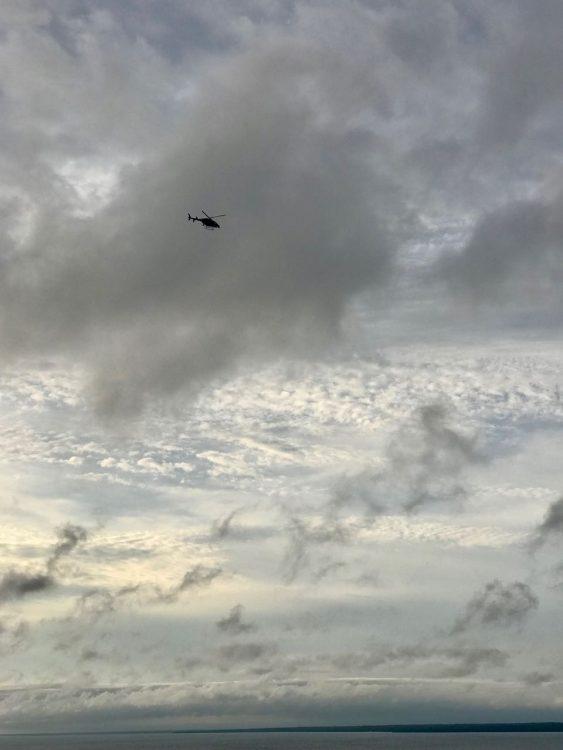 Helicopter patrol over Bridge