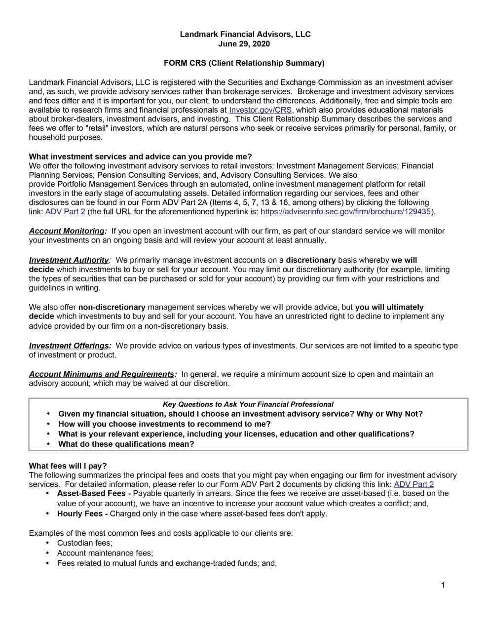 Form CRS page 1 Landmark Financial Advisors