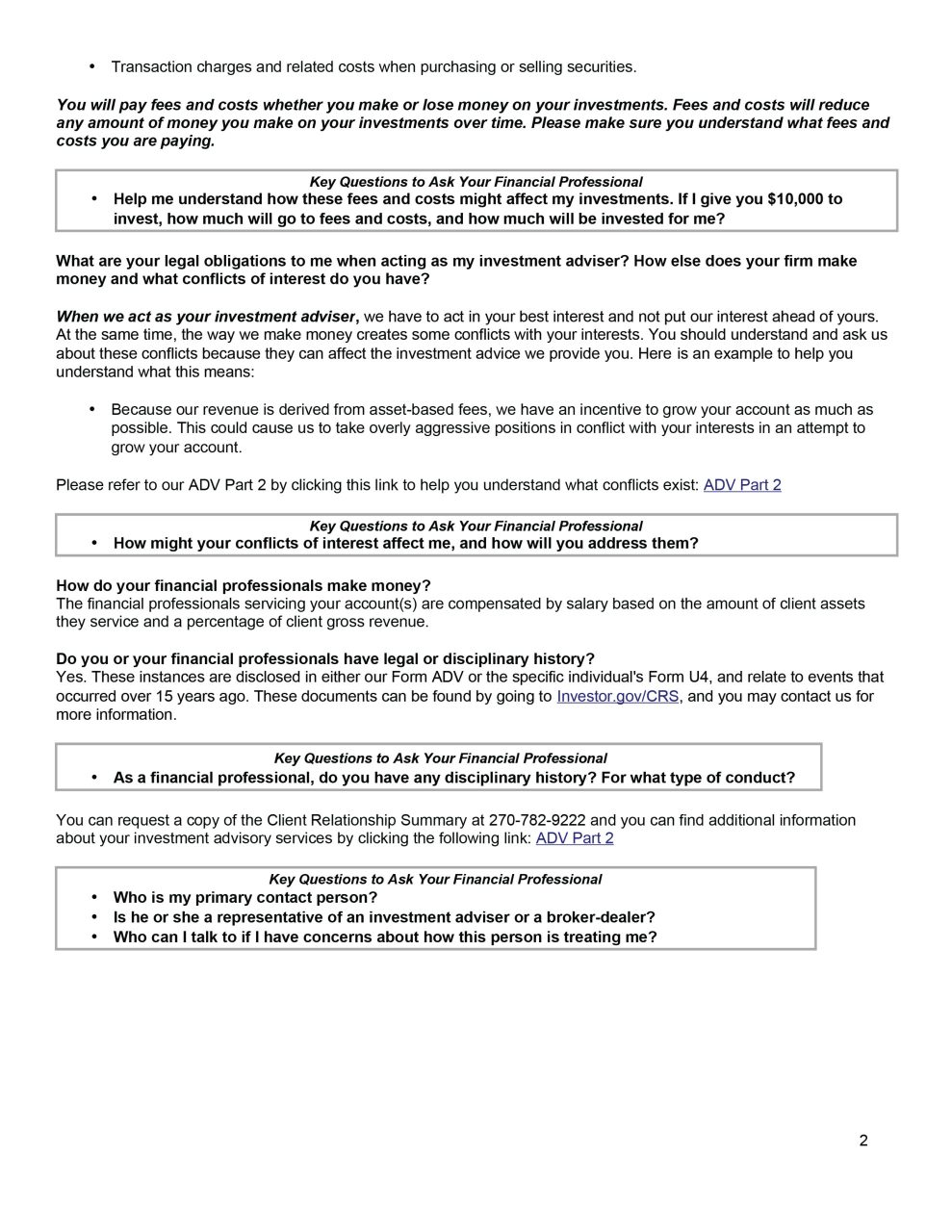 Form CRS page 2 Landmark Financial Advisors