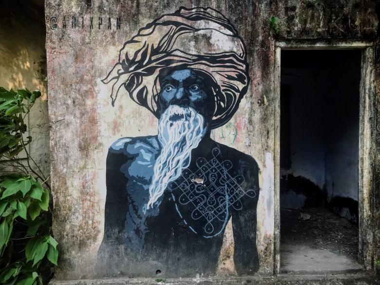 Man graffiti, The Beatles Ashram, Rishikesh