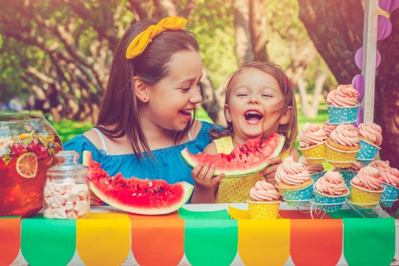 Sisters enjoying summertime