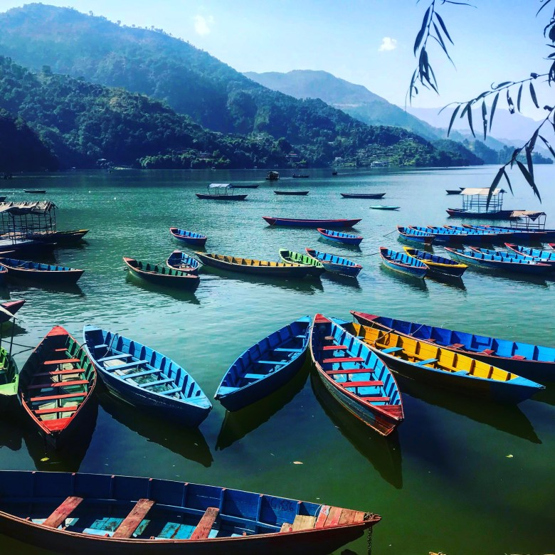 Boats on Lake Phewa in Pokhara, Nepal