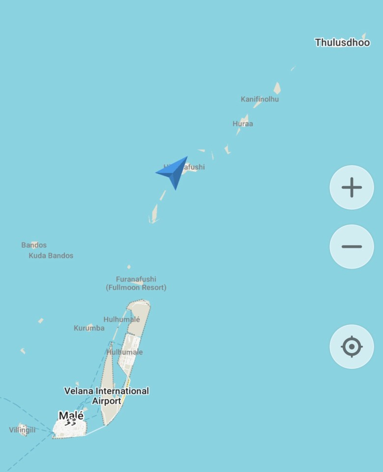 Map of route to Thulusdhoo Island in the Maldives