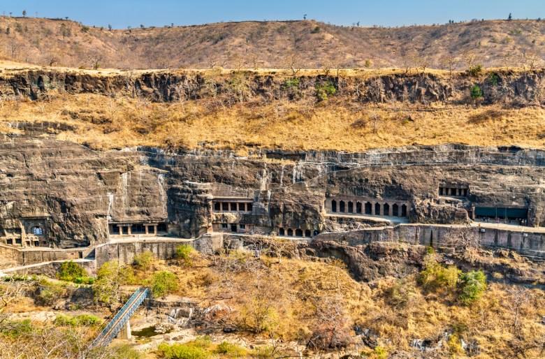 Panorama of the Ajanta Caves. UNESCO world heritage site in Maharashtra, India