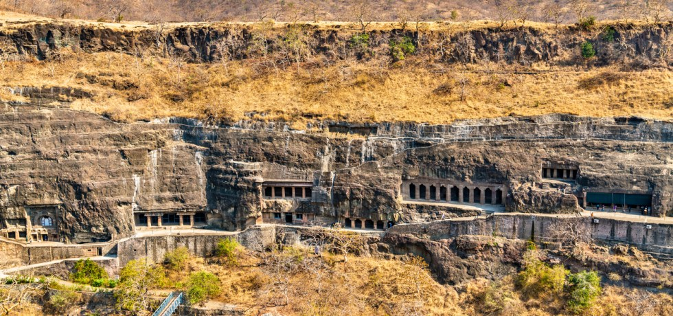 Panorama of the Ajanta Caves. UNESCO world heritage site in Maharashtra, India